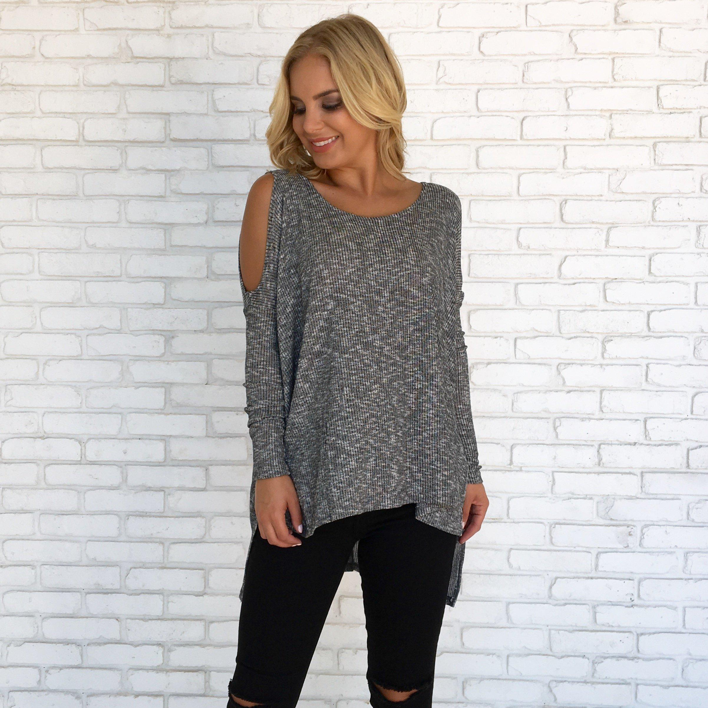 623849d10e3402 Speckle Cold Shoulder Knit Top from Dainty Hooligan | Fall/Winter