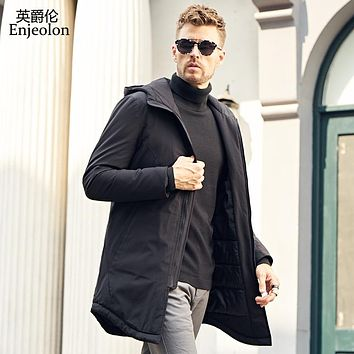 winter long Cotton Padded Jacket coat Men black Parka hoodies coat Thick Quilted Coat Men