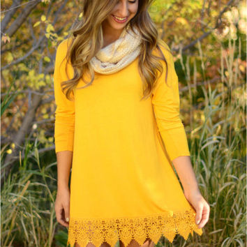 Yellow Long Sleeve Dress with Lace Trim