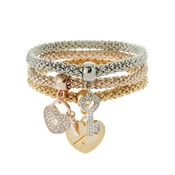 3 Pc Key Heart Lock Stretch Bracelet