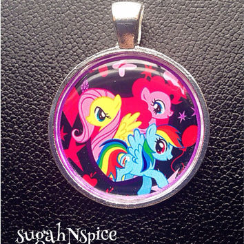 My Little Pony Pinkie Pie Fluttershy-Rainbow Dashnecklace pendant Inspired Pendant Charm Friendship is Magic necklace
