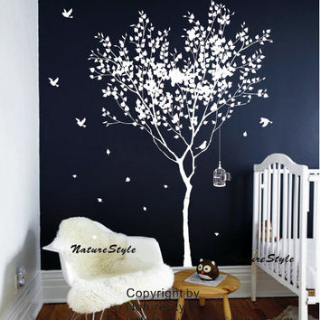 Tree Wall Decal vinyl StickerNature Design birdcage by NatureStyle