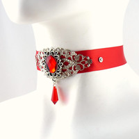 Gothic Red Choker with Glass Stone, Silver Filigree and Pointy Pendant - Vampire, Goth, Victorian, Burlesque, Necklace, Chocker
