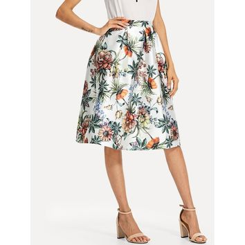 Flower Print Box Pleated Skirt Multicolor