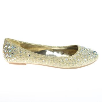 Clore10 Gold By Bamboo, Ballet Flats with Iridescent Studs