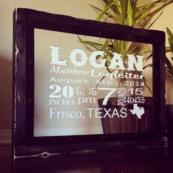 Baby Sign, Birth Fact Sign, Baby Gift, Nursery Art Sign, Rustic Wood, Shabby Chic, Texas State, Black Frame, Birth Announcement handmade