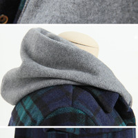 Buy CLICK Set: Plaid Buttoned Jacket + Hooded Vest | YesStyle
