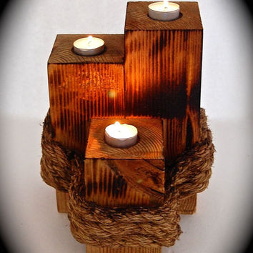 "Handmade Reclaimed Wood 3 Pillar Tea Light and Rope Torched and sealed with Linseed Oil. 11"" Tall  x 9"" Across and 9"" wide"