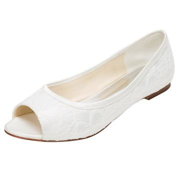 Lace Satin Flat Heel Closed Toe Simple Shoes,High Quality Wedding Shoes, L-574