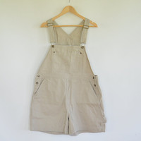 Khaki Short Bib Overalls Christopher & Banks Size XL Khaki Shortalls Overall Shorts Tan Cotton Overalls