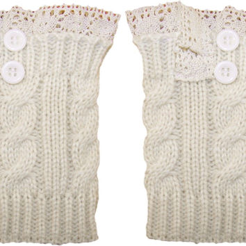 Lace Button Boot Cuffs Ivory Boho Boot Toppers With Antique Crochet Lace One Size