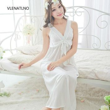 DCCKF4S Free shipping women lace Sexy nightgown slim bride birthday gift the temptation of chiffon skirt sleepwear bra cup pad plus size