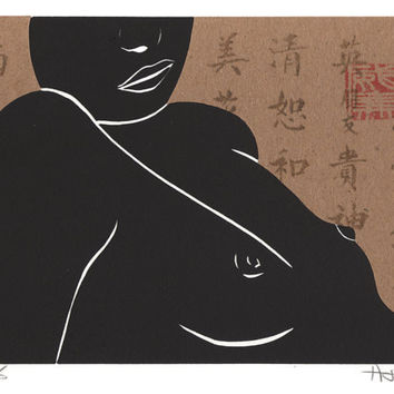 Nude Female Figure Female Nude Linocut Relief Print Collage with Chinese Symbols Home Decor Wall Art