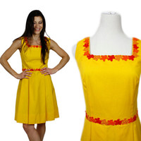 Lemon Yellow Dress Embroidered With Floral Trim / 1960s Mod Sleeveless Pleated Skirt Dress / Bright Yellow Summer Dress / size XS S