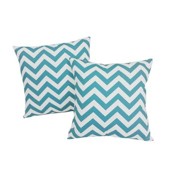 Blue Chevron Stripes Throw Pillows