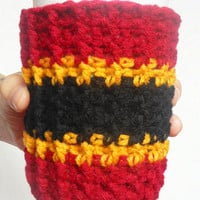 San Francisco Team Colors Coffee Cozy in Burgundy, Gold and Black, ready to ship.