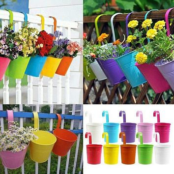 10 Colors Metal Iron Flower Hanging Pots - Balcony Railing Planter