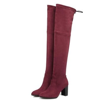 Western Style Flock Women Boots Over The Knee Boots Winter Square High Heel Ladies Lace Up Fashion Boots Size 34-43