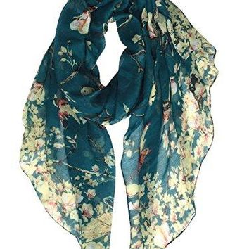 GERINLY - Lightweight Floral Birds Print Shawl Scarf For Christmas Season