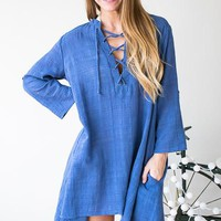 Famous Love Linen Look Lace Up Dress - Blue
