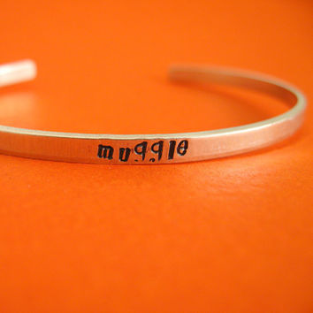 Harry Potter Bracelet -Muggle Skinny Stamped Cuff in Aluminum