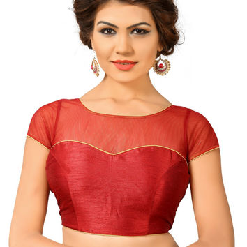 Saris and Things Maroon Net Fancy Back Open Saree Blouse Choli SNT-X-373-MAROON