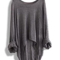 Gray Batwing Casual Loose Asymmetric Sweater