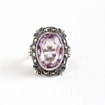 Vintage Art Deco Sterling Silver Light Purple Glass Stone Marcasite Ring - 1930s Size 3 1/4 Oval Simulated Amethyst Statement Uncas Jewelry