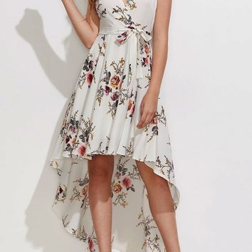 White Boho Floral Sashes Draped Plunging Neckline High-Low Summer Beach Party Maxi Dress