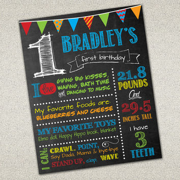 Custom Chalkboard Printable Birthday Sign - Boy Birthday Poster - Birthday Sign - Digital Print | 16x20