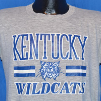 80s University of Kentucky Wildcats College Sports Heathered Gray t-shirt Medium
