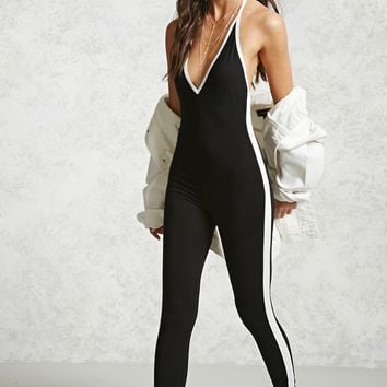 Side-Stripe Halter Jumpsuit