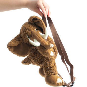 Vintage 90's Woolly Mammoth Plush Backpack