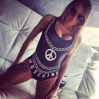 Chain Letters Printed One Piece Swimsuit B005567