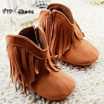 2016 new arrival baby toddler pre walker high top fringe boy girl boots cowboy soft so