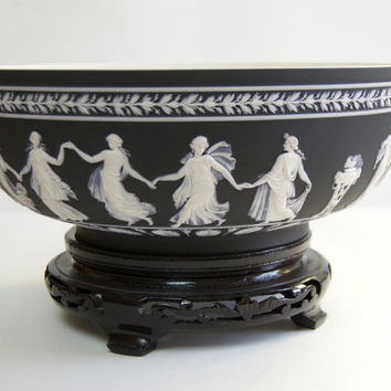 Wedgwood Dancing Hours Bowl Vintage Black Basalt Dip Jasperware Serving Ware Neoclassical Figural Sculpture Collectibles Home Decor