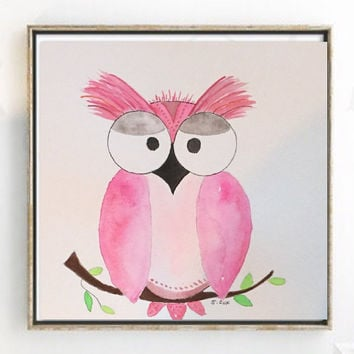Nursery art, Pink owl Original watercolor, Baby Girl nursery painting, whimsical art, Child's room art, nursery art animals, baby shower