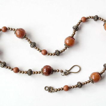 Bronze stone necklace - Vintage look - quartzite & brown turquoise