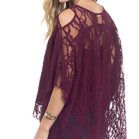 Wine Down Lace Cold Shoulder Top