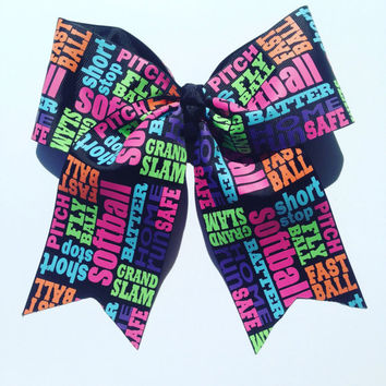 Softball Hair Bow-Fast pitch softball-Softball Mom-Big Softball Bow-Softball-Hair Bows-handmade-Hair Accessories-Gifts for her