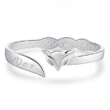 Silver Charm Cute Fox Bracelet Bangle