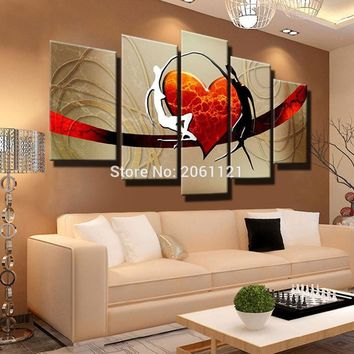 Hand Painted warm family couple Oil Painting Abstract Modern Canvas Wall Art loving dad and mom red heart bedroom Decor Picture