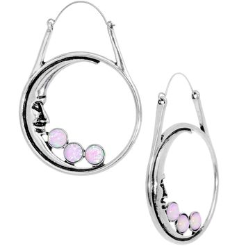 Pink Faux Opal Smiling Man In The Moon Tunnel Plug Earrings