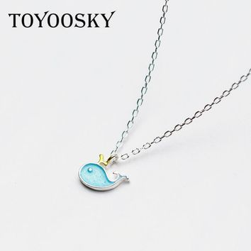 2018 TOYOOSKY Couple Lover Blue Dolphins Whale Fish 925 Sterling Silver Necklace Pendant For Women Fashion Contracted Jewelry