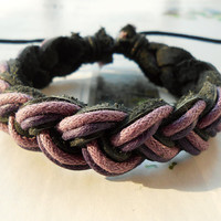 Summer Christmas Gift Popular Trend Stylish Fashion Purple Cotton Ropes Weaved Black Leather Wrap Bracelet  W-61