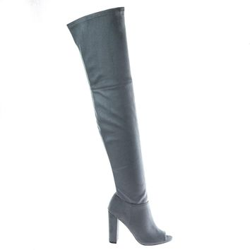 Morris58 Gray By Wild Diva, peep toe Over Knee thigh high suede boots on chunky block