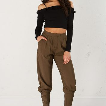 Ankle Buckle Pant in Olive