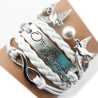 Twinkle Handmade Infinity One Direction Kiss Birds Charm Friendship Gift - Leather Personalized Bracelet