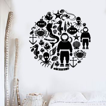 Wall Decal Marine Animals Ocean Octopus Diver Seahorse Vinyl Stickers Unique Gift (ig2991)