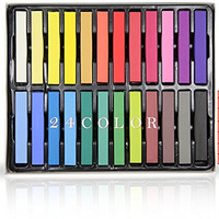 GG Beauty 24 Colors Temporary Hair Chalk Set - Non-Toxic Rainbow Colored Dye Pastel Kit (24 Color)